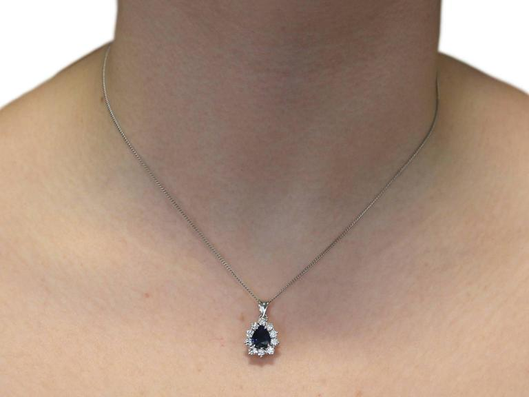 1970s 1.25 Carat Sapphire and 0.50 Carat Diamond, 14k White Gold Pendant For Sale 3