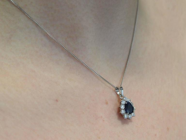 1970s 1.25 Carat Sapphire and 0.50 Carat Diamond, 14k White Gold Pendant For Sale 4