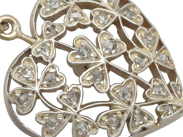 Antique Victorian 0.70 Carat Diamond and 12k Yellow Gold Pendant 4