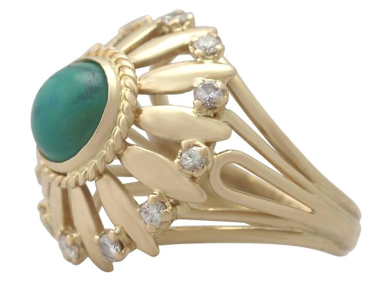 Round Cut 1950s Turquoise and Diamond Yellow Gold Cocktail Ring For Sale