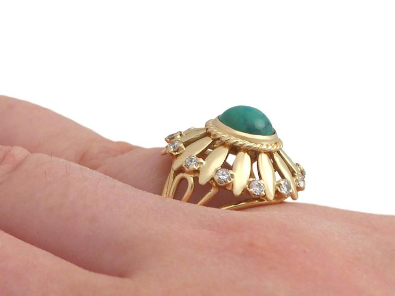 1950s Turquoise and Diamond Yellow Gold Cocktail Ring For Sale 2