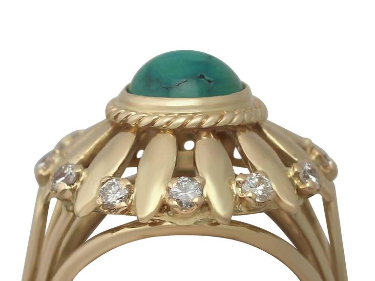 Retro 1950s Turquoise and Diamond Yellow Gold Cocktail Ring For Sale