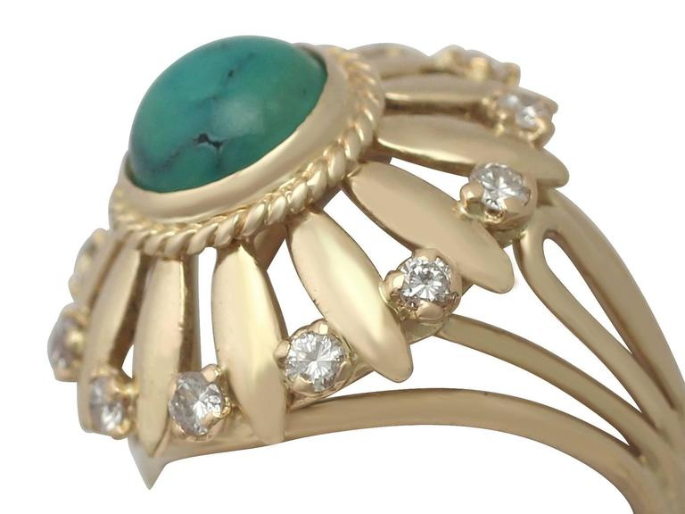 A fine and impressive vintage turquoise and 0.25 carat diamond, 18 karat yellow gold cocktail ring; part of our diverse antique jewellery and estate jewelry collections.  This fine and impressive vintage turquoise ring has been crafted in 18k yellow