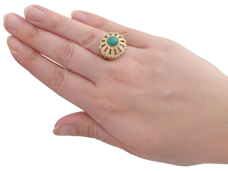 1950s Turquoise and Diamond Yellow Gold Cocktail Ring For Sale 1