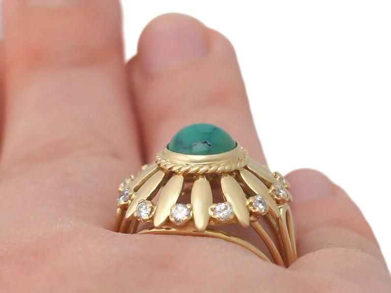 1950s Turquoise and Diamond Yellow Gold Cocktail Ring For Sale 3