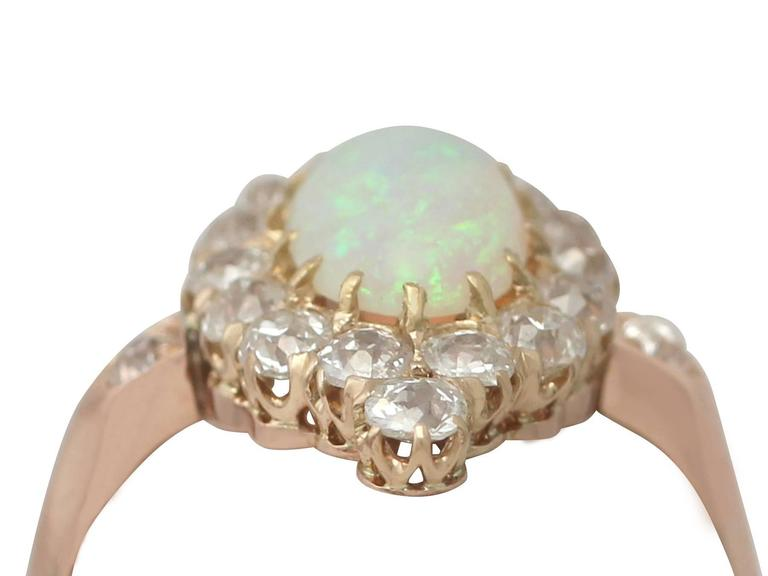 1900s 1.06 Carat Opal and Diamond Rose Gold Cluster Ring 2