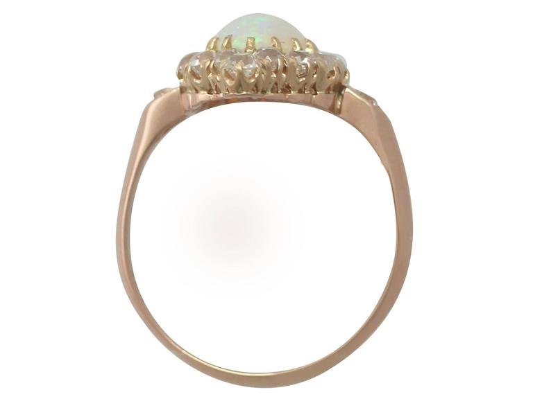1900s 1.06 Carat Opal and Diamond Rose Gold Cluster Ring 5