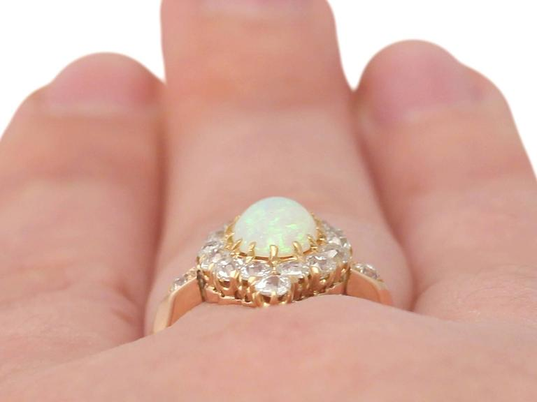 1900s 1.06 Carat Opal and Diamond Rose Gold Cluster Ring 9