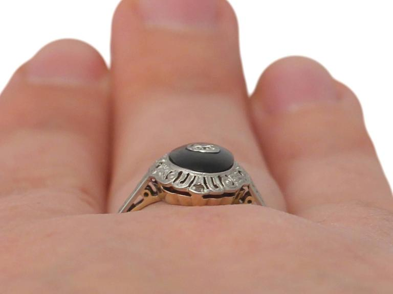 1930s Art Deco Diamond and Black Onyx Cocktail Ring 9