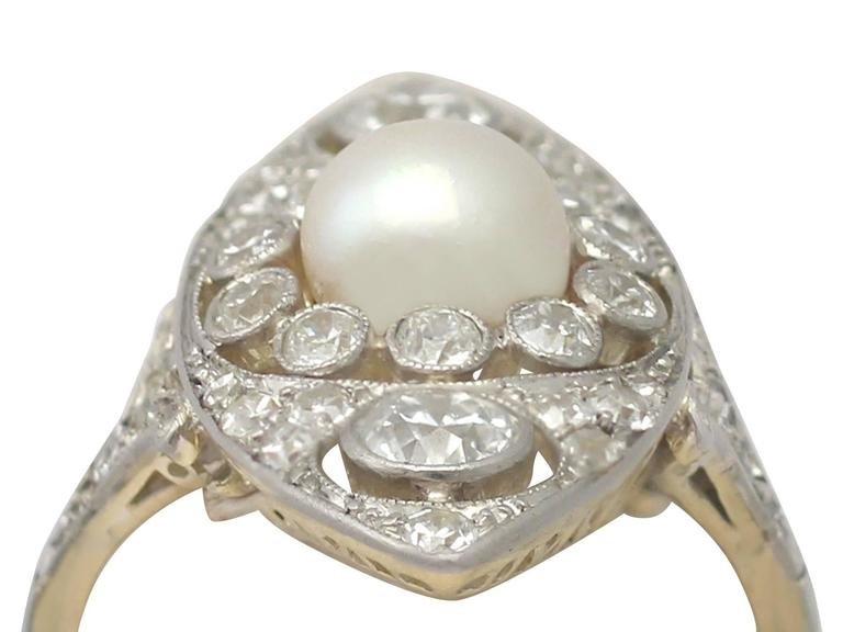 Antique 1910s Pearl and 1.84 Carat Diamond, 14k Yellow Gold Marquise Ring In Excellent Condition For Sale In Jesmond, Newcastle Upon Tyne