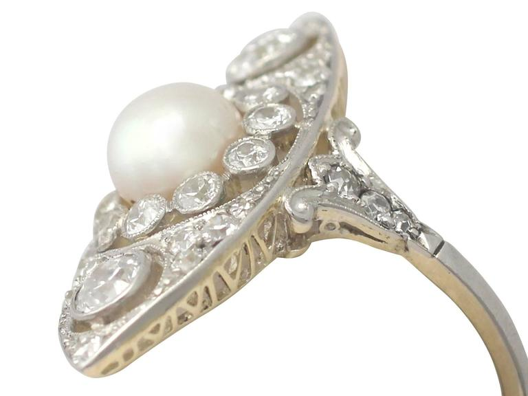 Edwardian Antique 1910s Pearl and 1.84 Carat Diamond, 14k Yellow Gold Marquise Ring For Sale