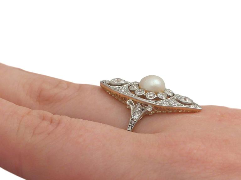 Antique 1910s Pearl and 1.84 Carat Diamond, 14k Yellow Gold Marquise Ring For Sale 3
