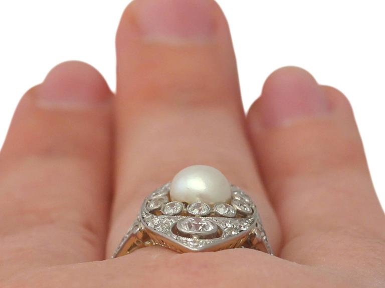 Antique 1910s Pearl and 1.84 Carat Diamond, 14k Yellow Gold Marquise Ring For Sale 4