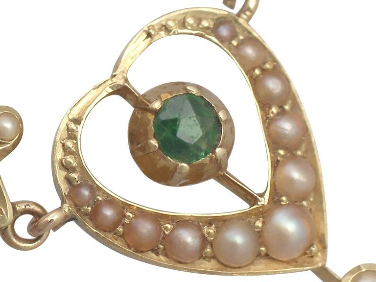 Women's 1890s 0.12 Carat Peridot and Seed Pearl, 15k Yellow Gold Necklace For Sale