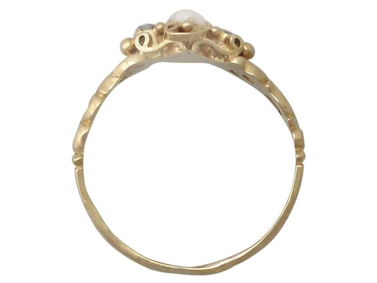 Antique Victorian Pearl and 0.04 ct Diamond, 18k Yellow Gold Dress Ring 5