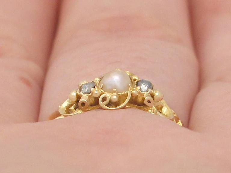 Antique Victorian Pearl and 0.04 ct Diamond, 18k Yellow Gold Dress Ring 8