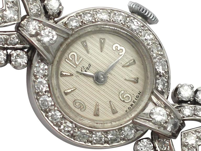 1950s and 1960s 2.92 Carat Diamond Cocktail Watch in Platinum and 9k White Gold 2