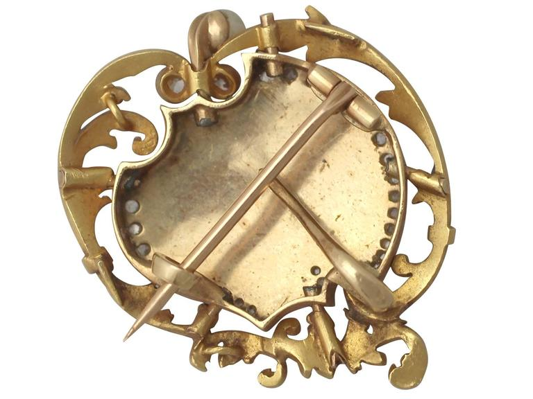 Women's or Men's 1880s French 0.33 Carat Diamond and Pearl, Enamel and 18k Yellow Gold Brooch For Sale
