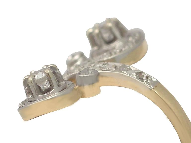 1920s French 0.43 Carat Diamond and Yellow Gold Twist Ring In Excellent Condition For Sale In Jesmond, Newcastle Upon Tyne