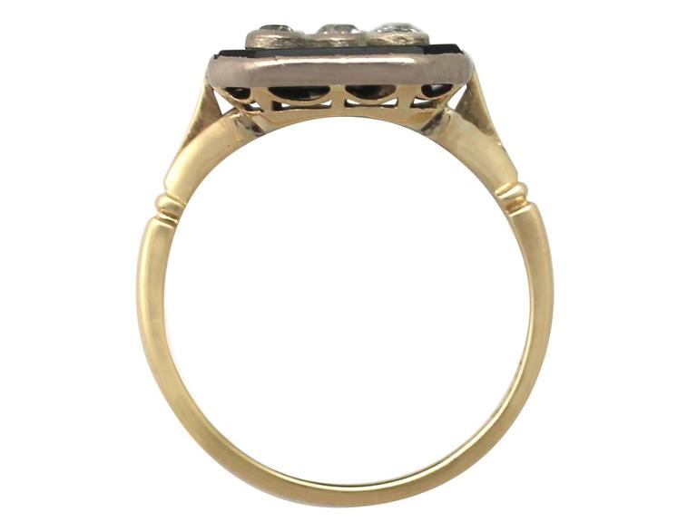 Women's or Men's 1930s Onyx and Diamond Yellow Gold Cocktail Ring For Sale