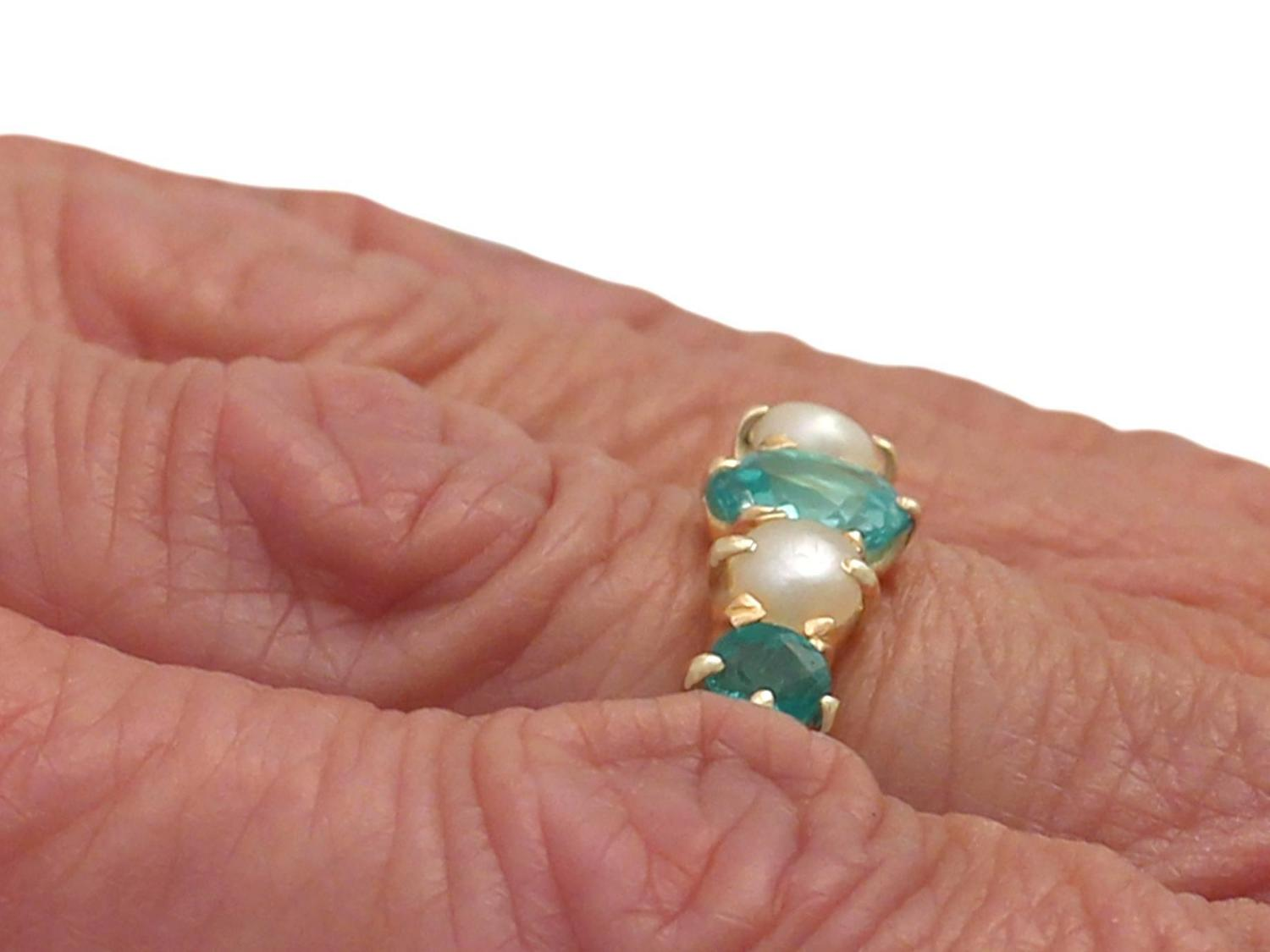 pearl and 1 02 ct emerald yellow gold dress ring for sale