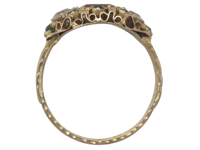 1870s Antique Victorian Paste and Yellow Gold Cocktail Ring For Sale 1