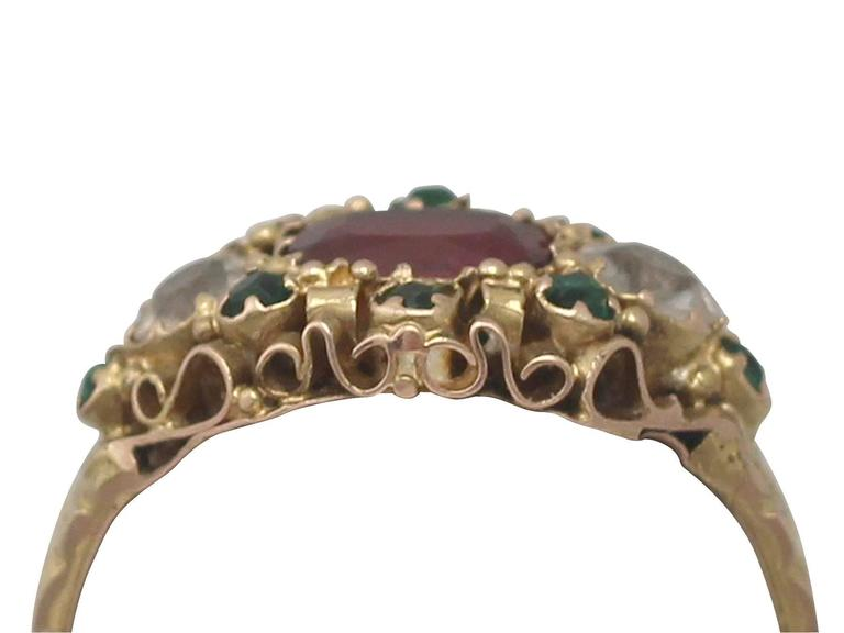 A fine and impressive antique Victorian white, green and red paste, 15 carat yellow gold cannetille style dress ring; part of our diverse antique jewellery collections  This fine and impressive antique paste ring has been crafted in 15k yellow