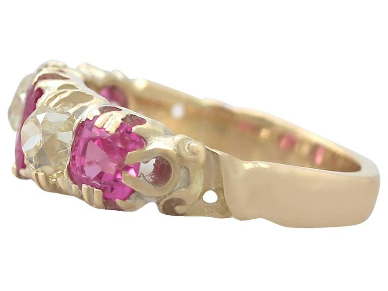 1860s Antique 1.38 Carat Burmese Ruby and 1.12 Carat Diamond, Yellow Gold Ring 4