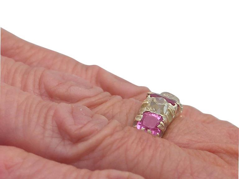 1860s Antique 1.38 Carat Burmese Ruby and 1.12 Carat Diamond, Yellow Gold Ring 8