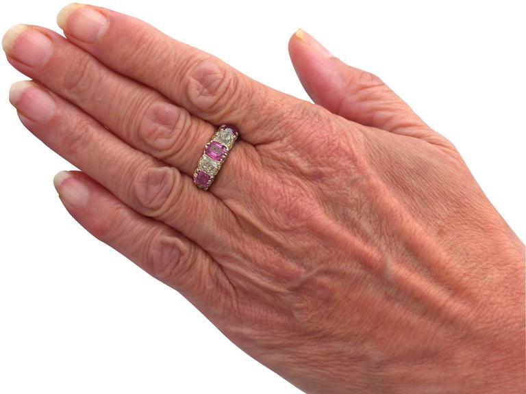 1860s Antique 1.38 Carat Burmese Ruby and 1.12 Carat Diamond, Yellow Gold Ring 7