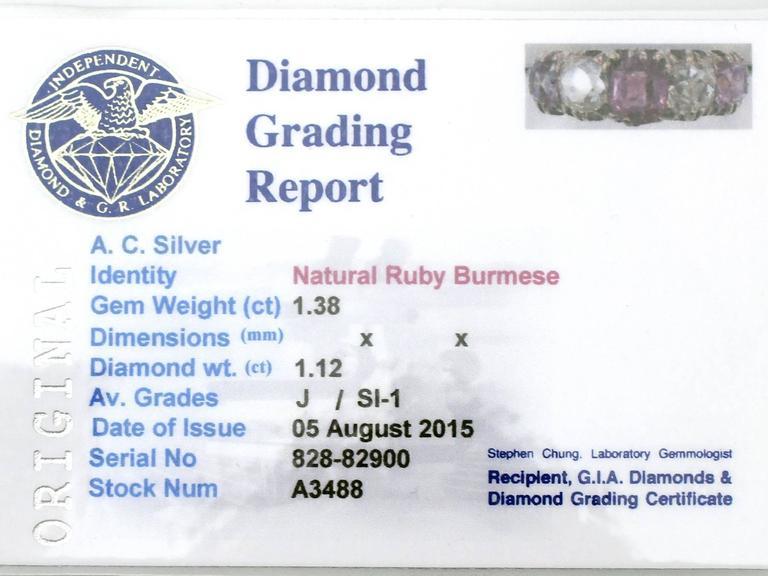 1860s Antique 1.38 Carat Burmese Ruby and 1.12 Carat Diamond, Yellow Gold Ring 6