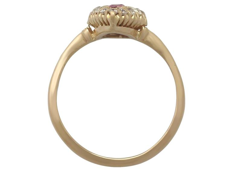 1900s Antique Ruby and Diamond Yellow Gold Marquise Cocktail Ring For Sale 1