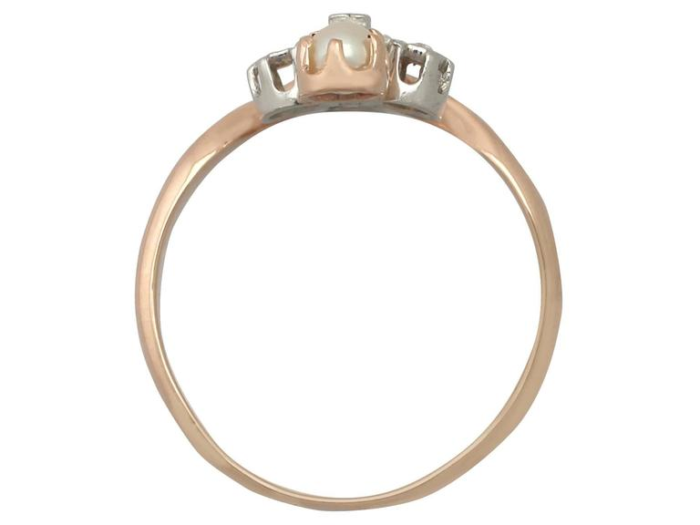 1900s Antique French Pearl and 0.09 Carat Diamond, Rose Gold Dress Ring For Sale 1