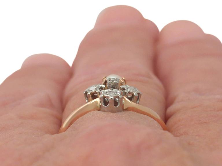 1900s Antique French Pearl and 0.09 Carat Diamond, Rose Gold Dress Ring 9