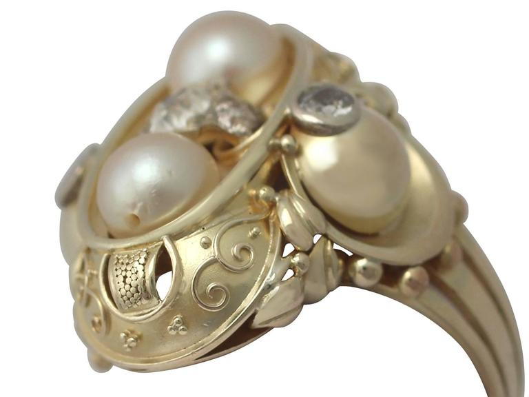 Round Cut 1950s German Pearl and Diamond Yellow Gold Cocktail Ring  For Sale