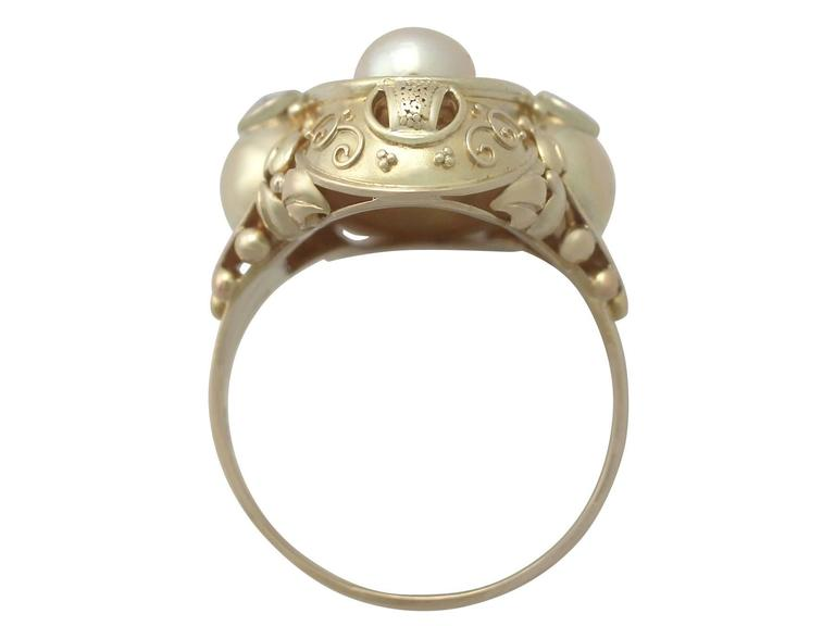 Women's 1950s German Pearl and Diamond Yellow Gold Cocktail Ring  For Sale