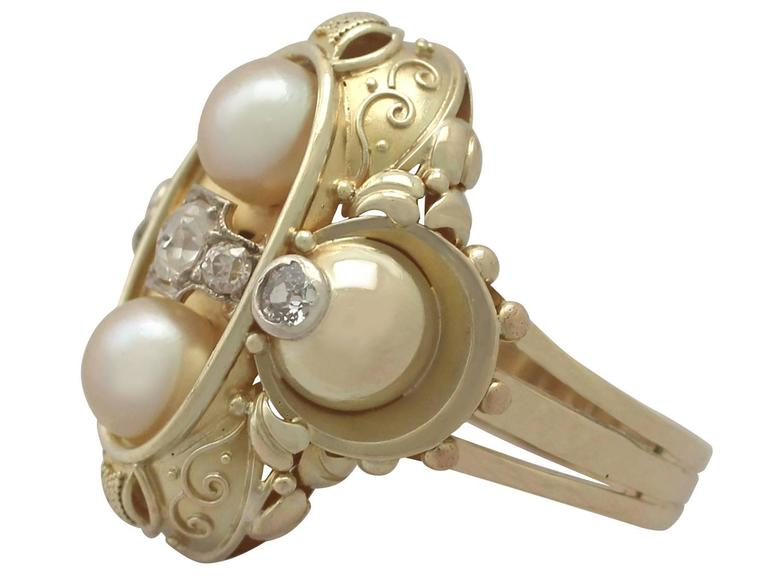 1950s German Pearl and Diamond Yellow Gold Cocktail Ring  In Excellent Condition For Sale In Jesmond, Newcastle Upon Tyne