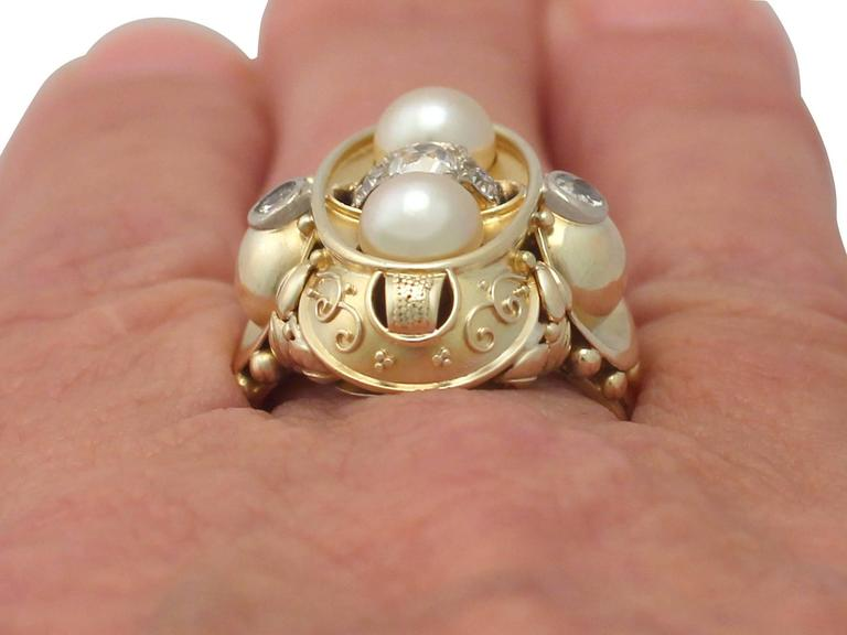 1950s German Pearl and Diamond Yellow Gold Cocktail Ring  For Sale 4