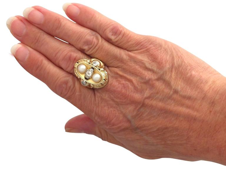 1950s German Pearl and Diamond Yellow Gold Cocktail Ring  For Sale 2