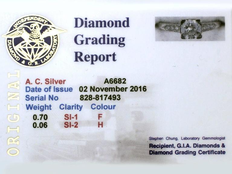 Contemporary 2000s 0.70 Carat Diamond and Platinum Solitaire Ring 6