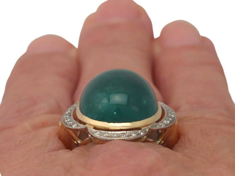 1940s 14.5 Carat Emerald and Diamond Yellow Gold Cocktail Ring 9