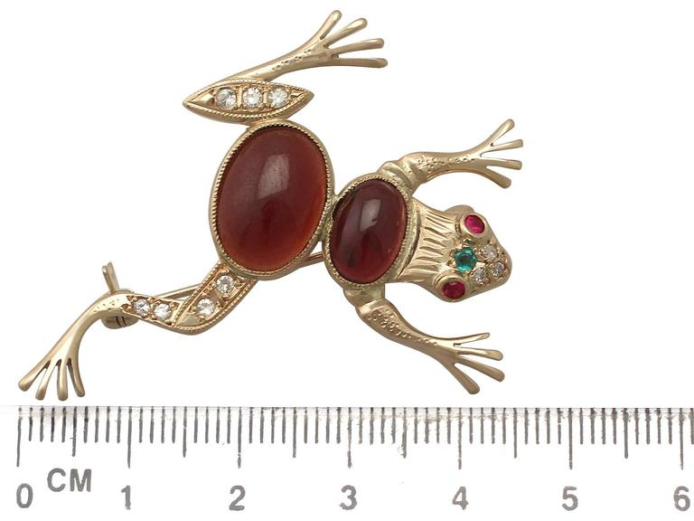 1950s Emerald, Ruby, Garnet and Diamond, Yellow Gold 'Frog' Brooch 7