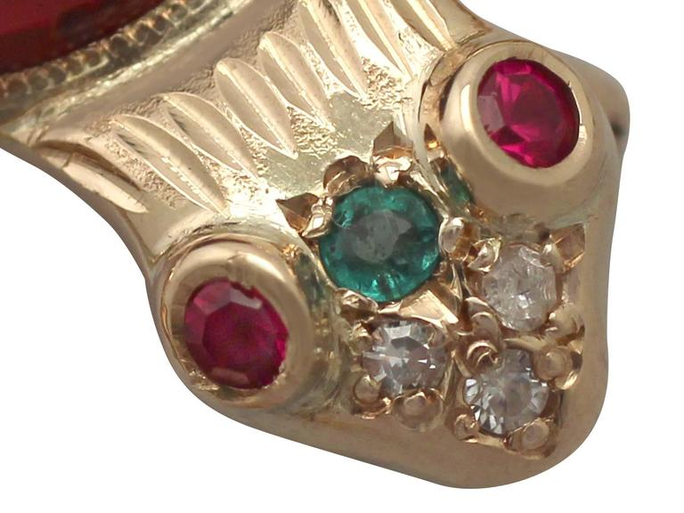 1950s Emerald, Ruby, Garnet and Diamond, Yellow Gold 'Frog' Brooch For Sale 1