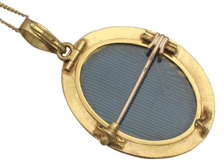 Women's Antique Austrian 1880s 0.13Ct Diamond & 14k Yellow Gold Locket Pendant / Brooch For Sale