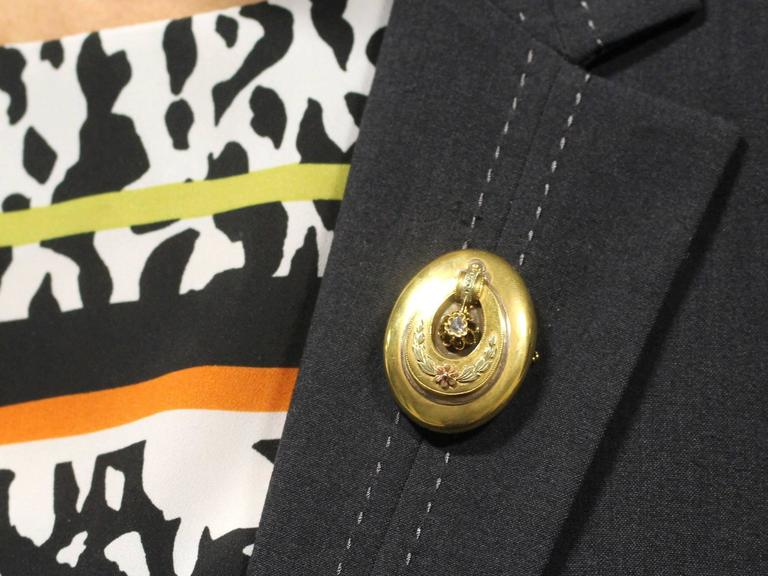 Antique Austrian 1880s 0.13Ct Diamond & 14k Yellow Gold Locket Pendant / Brooch For Sale 5