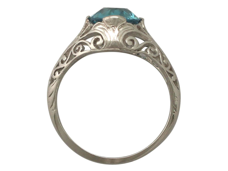 antique 1920s 3 34 ct blue zircon and platinum dress ring