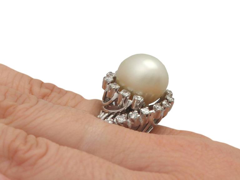 1960s South Sea Pearl and Diamond Platinum Cocktail Ring For Sale 3