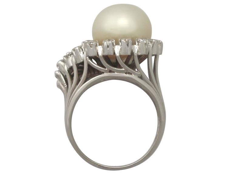Women's 1960s South Sea Pearl and Diamond Platinum Cocktail Ring For Sale