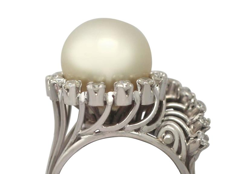 A stunning, fine and impressive south sea pearl and 0.72 carat diamond, platinum dress ring; part of our diverse vintage jewellery and estate jewelry collections  This stunning, fine and impressive south sea pearl ring with diamonds has been crafted