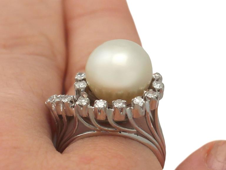 1960s South Sea Pearl and Diamond Platinum Cocktail Ring For Sale 4
